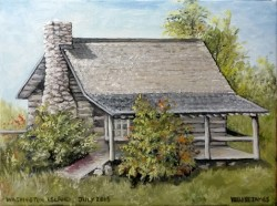Plein Air sketch of the cabin home at the Farm Museum on Washington Island.